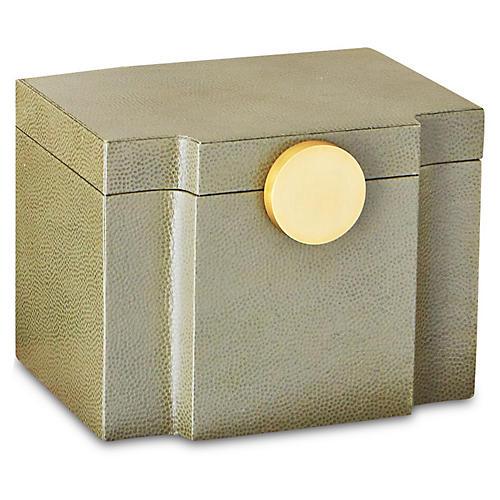 "8"" Pebbled Serpentine Box, Olive"