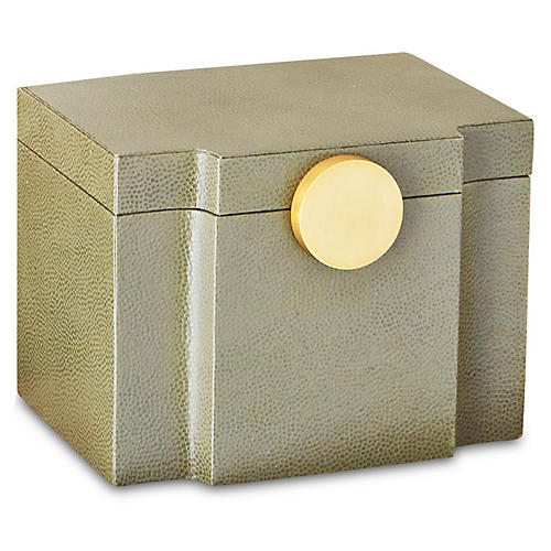 "8"" Pebbled Serpentine Box, Olive"
