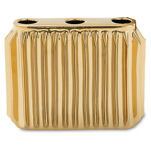 "8"" Andros Decorative Vase, Gold"