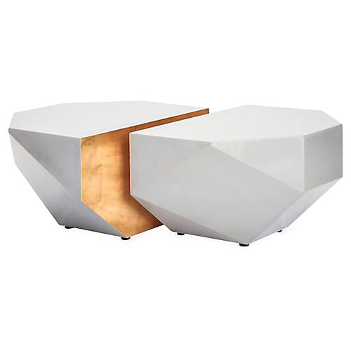 Julia Buckingham Coffee Tables, Dove Gray/Gold
