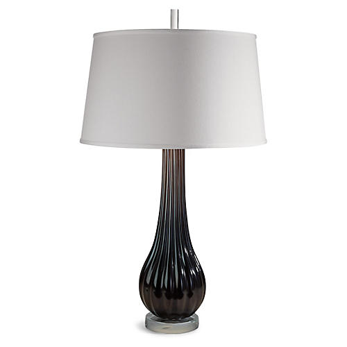 Ribbed Silk-Shade Table Lamp, Black/Clear