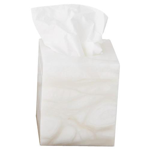 """6"""" Sarahi Tissue Box, Ivory"""
