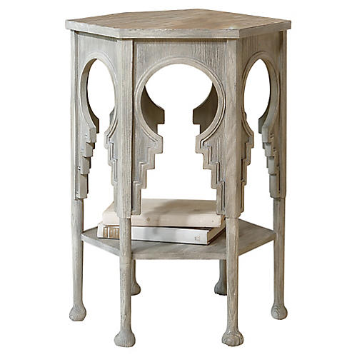 Jacobean Side Table, Gray