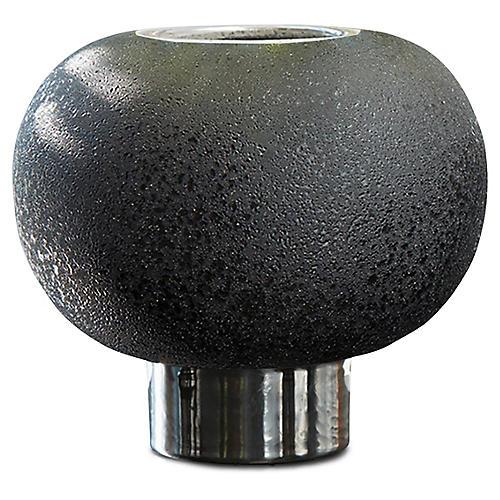 Banded Sphere Vase, Black/Silver