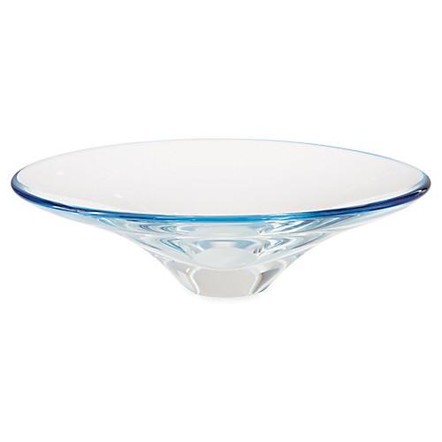 "17"" Oval Decorative Bowl, Clear/Ocean"