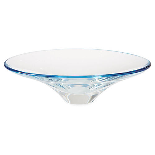"17"" Oval Decorative Bowl, Clear/Ocean"