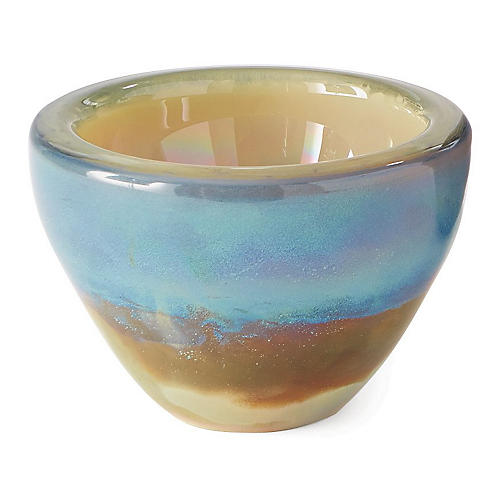 "8"" Mesa Decorative Bowl, Blue/Copper"