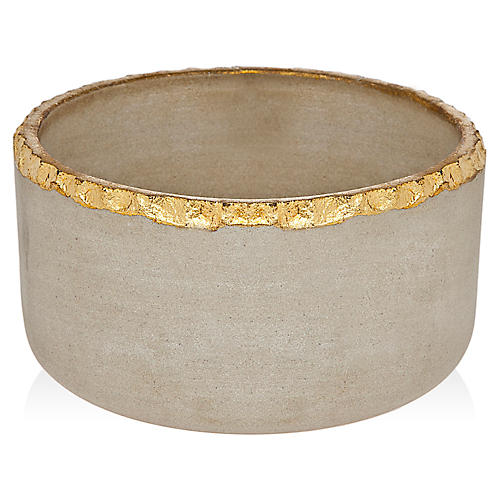 Marble Salad Bowl, Stone/Gold