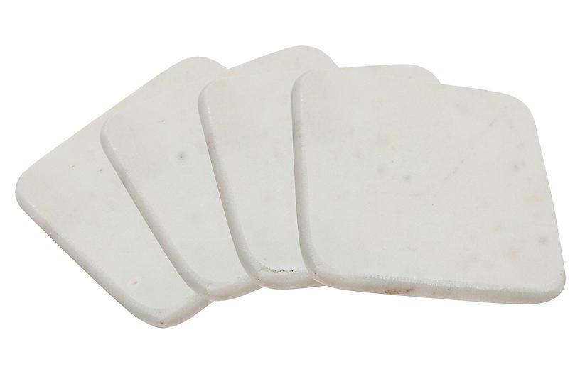S/4 Marble Coasters, White