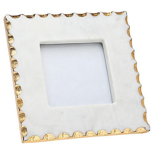 4x4 Americana Marble Frame, White/Gold