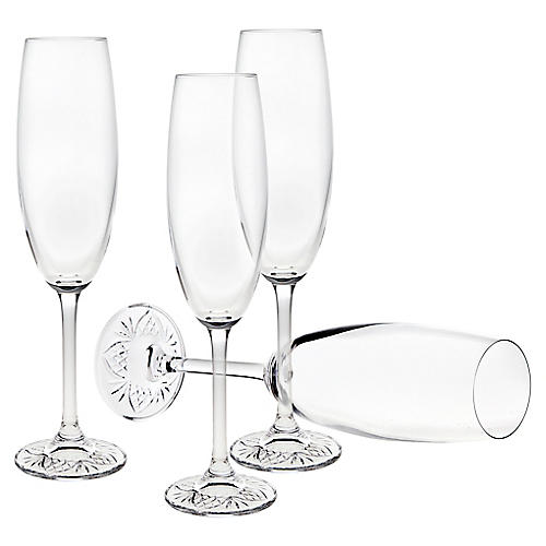 S/4 Aubree Champagne Flutes, Clear