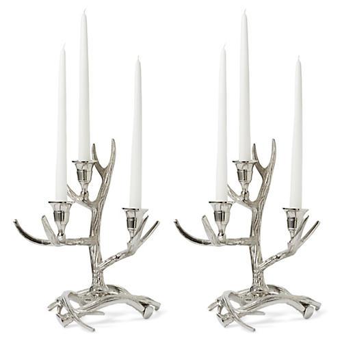 S/2 Tangled Antler Candelabras, Silver
