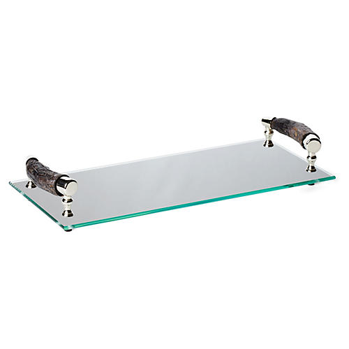 "17"" Bark-Handle Glass Tray, Clear"
