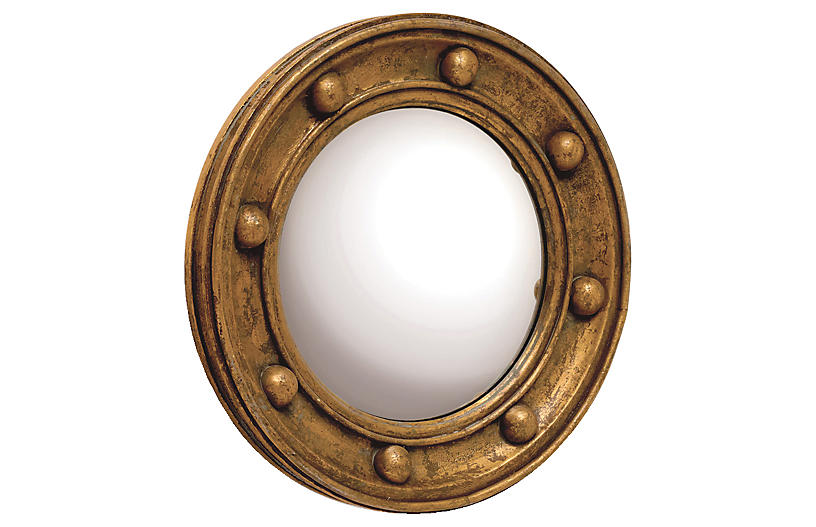 Titanic Round Mirror, Antiqued Gold
