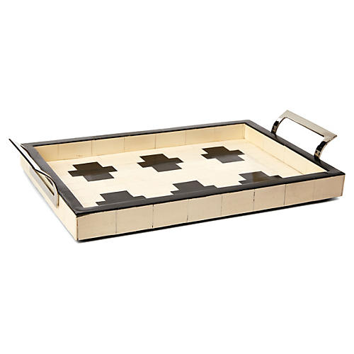 "15"" Bath-House Tray, Ivory/Black"