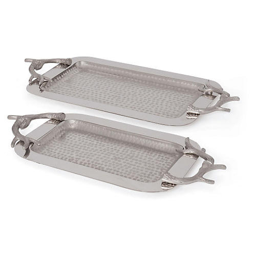 Asst. of 2 Antler-Handle Trays, Silver