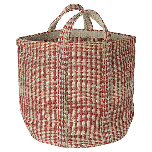 Red & Natural Hemp Basket