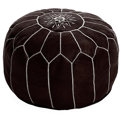 Moroccan Leather Pouf, Java