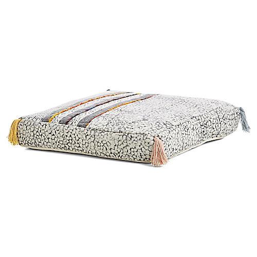Bazemore Floor Pouf, White/Multi