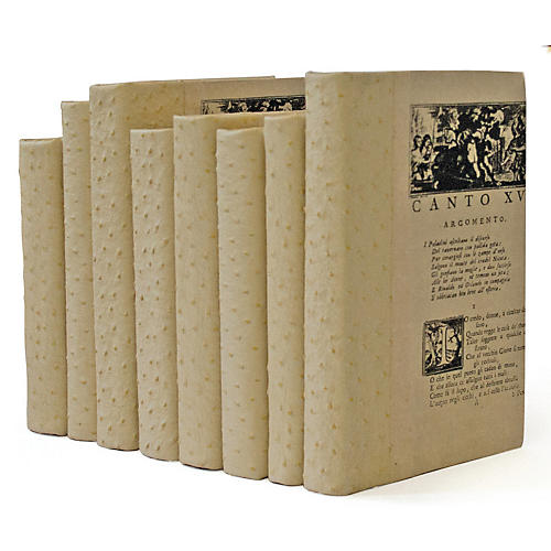Linear Foot of Faux-Ostrich Books, Beige