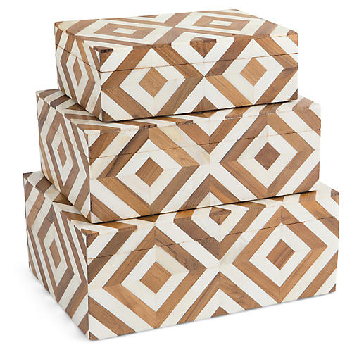 Asst. of 3 Melissak Bone Boxes, Ivory/Brown