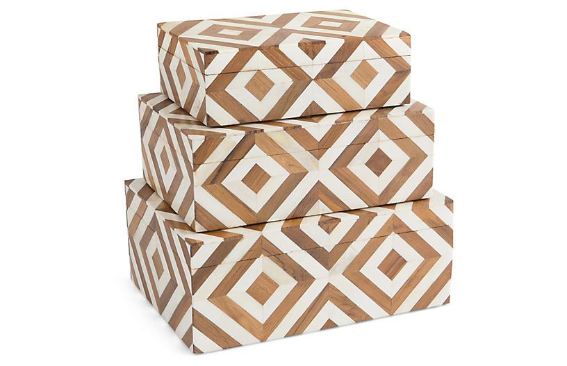 Asst. of 3 Melissak Bone Boxes, Ivory/Brown