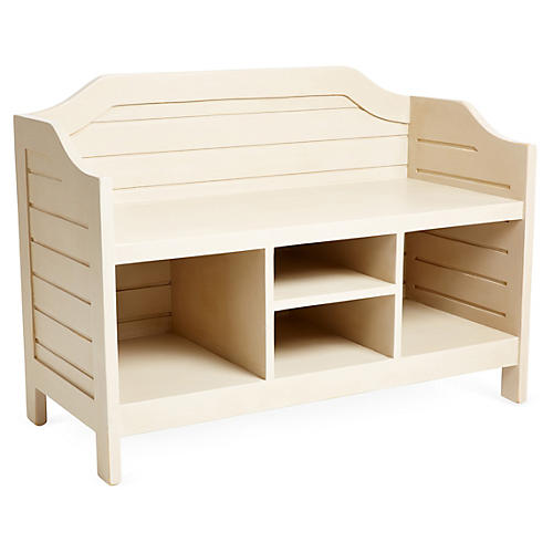 Beach House Storage Bench, Beige