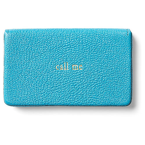 Call Me Goatskin Card Case, Turquoise