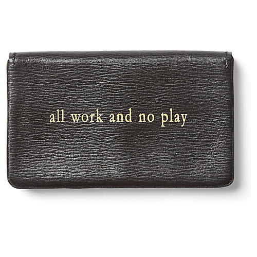 All Work Calfskin Card Case, Black