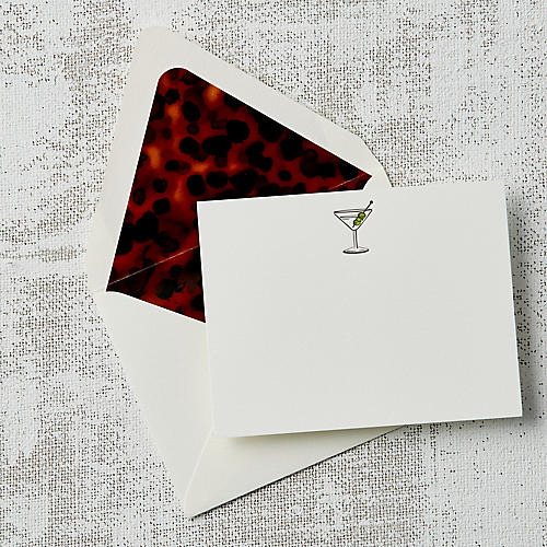 S/10 Tortoiseshell Martini Note Cards