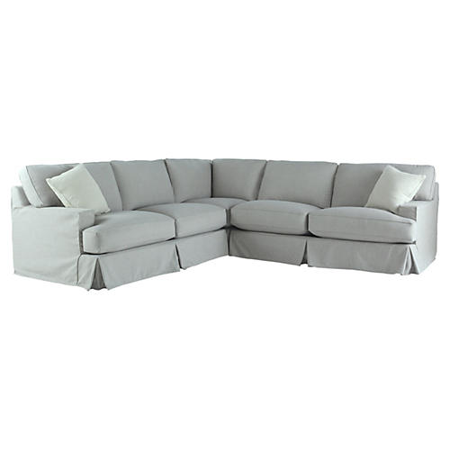 Chelsea Slipcovered Sectional, Seafoam Linen