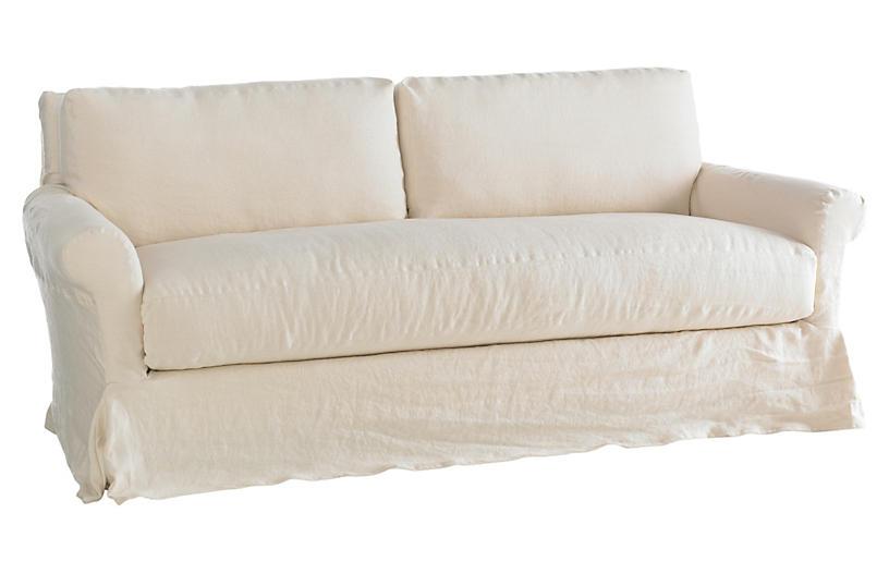 Sterling Slipcovered Sofa, Cream Linen