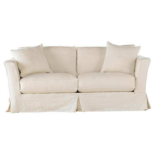 Loft Slipcovered Sofa, Cream Linen