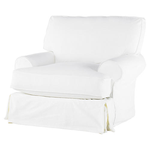 Comfy Slipcovered Swivel Club Chair, White Denim