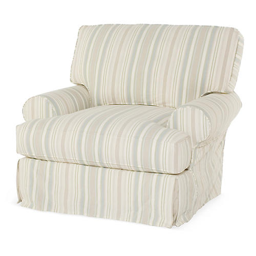 Comfy Slipcovered Swivel Club Chair, Natural Stripe
