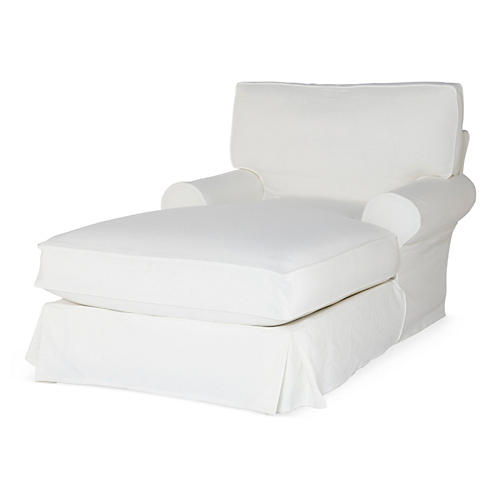 Comfy Slipcovered Chaise, White Denim