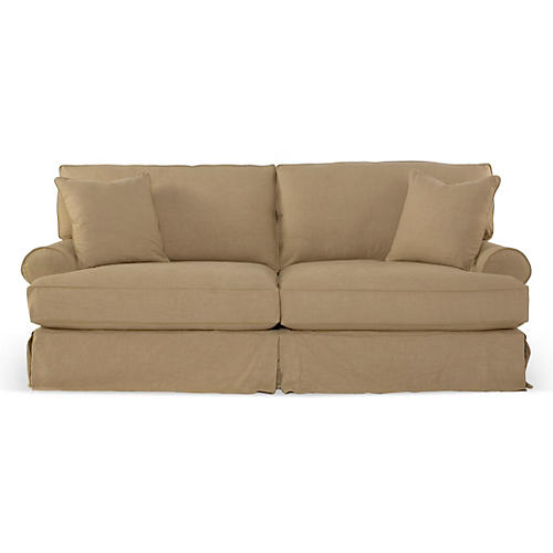 Comfy Slipcovered Sofa, Flax Linen