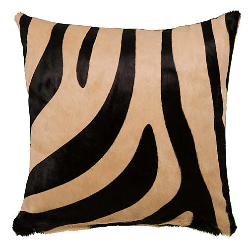 Zebra Pillow, Black/Beige
