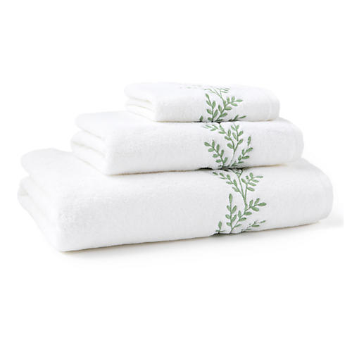3-Pc Willow Towel Set, Green