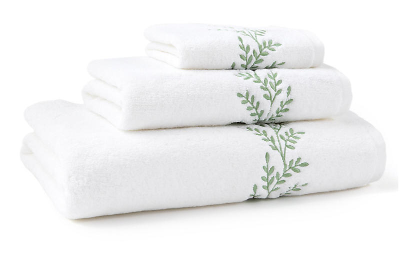 3-Pc Willow Towel Set - Green - Hamburg House