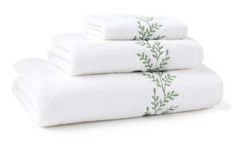 3-Pc Willow Towel Set, Green