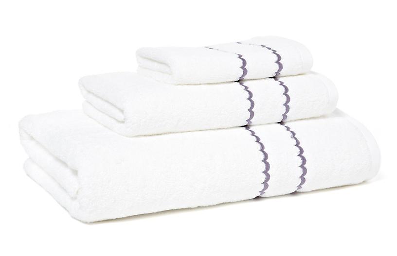 3-Pc Double Scallop Towel Set, Lilac
