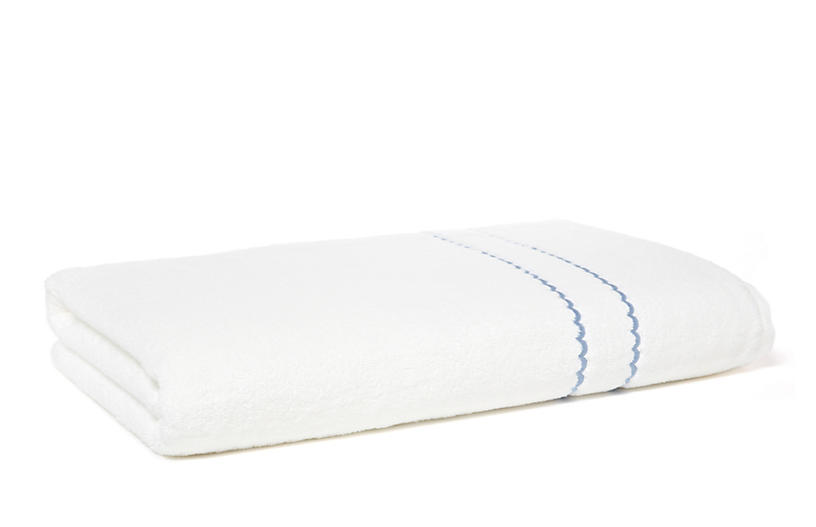 Double Scallop Bath Sheet, White/Blue