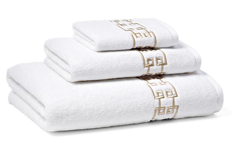 3-Pc Fretwork Towel Set, Seashell