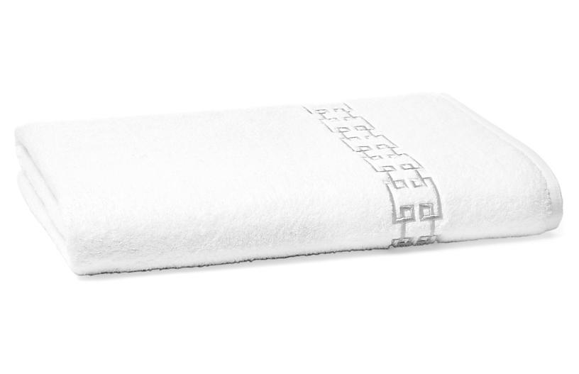Fretwork Bath Sheet, White/Gray