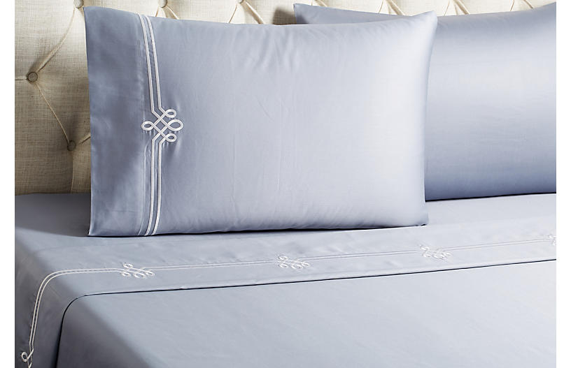Loops Sheet Set, Gray/White