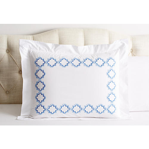 Quatrefoil Outline Sham, Blue