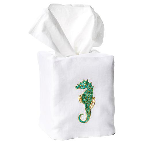 Seahorse Linen Tissue Box Cover