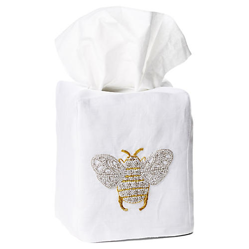 Bee Linen Tissue Box Cover