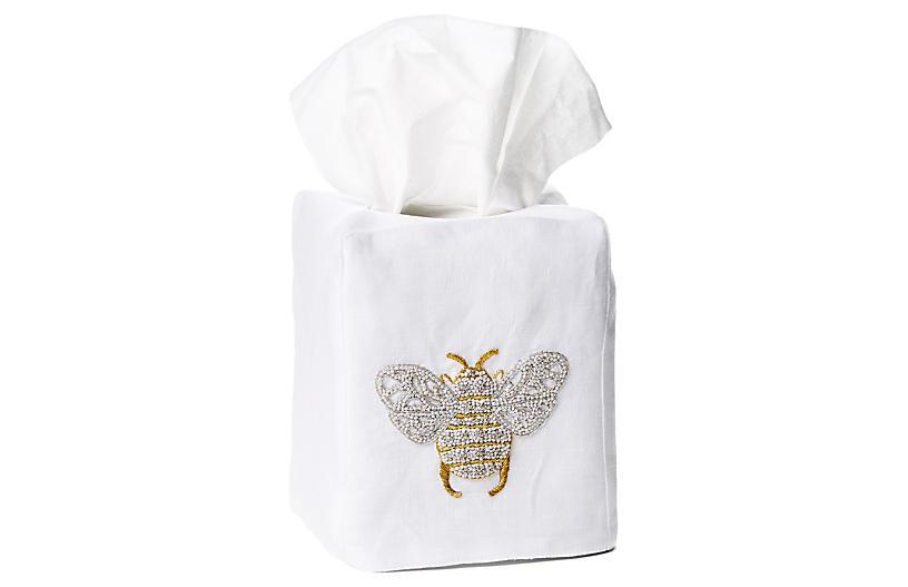 Bee Linen Tissue Box Cover